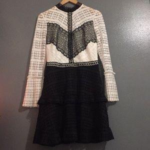 Black and white high neck line dress